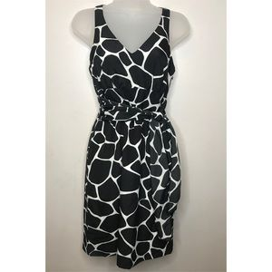 Susan Monaco Dress Black White Tie Front Sz 2